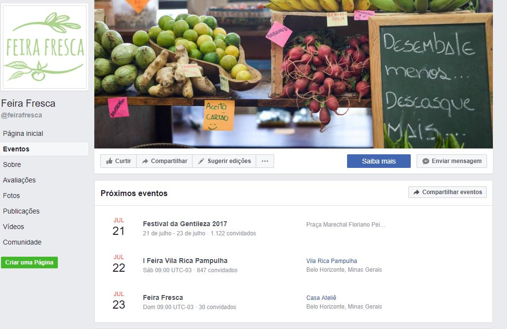 Eventos da Feira Fresca no Facebook
