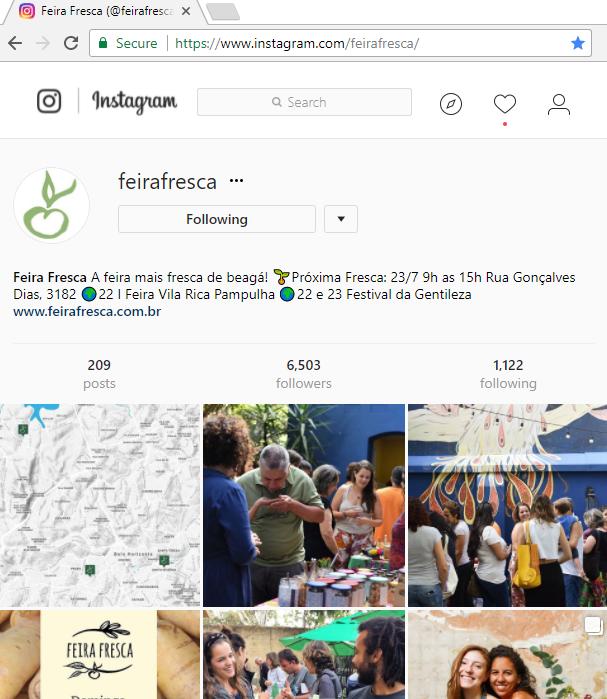 Instagram da Feira Fresca